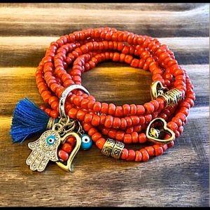 Jewelry - 5 bracelets stacked together with hamsa charm